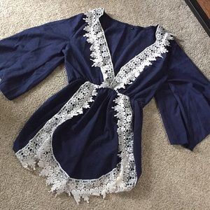 Other - Blue/ lace details romper